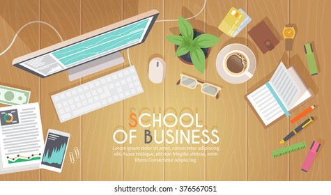 A business activity. Workplace. Office. Work in a team. Business school training. Objects lying on a wooden table. The web banner. Modern flat design. #4