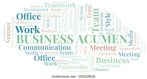 Business Acumen word cloud. Collage made with text only.