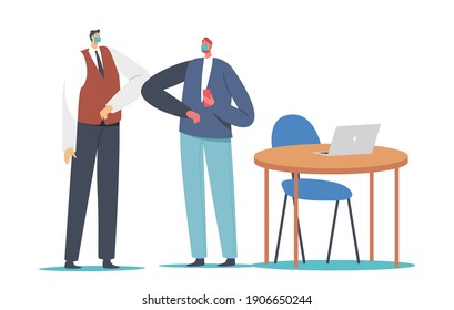 Business Adapting, Characters Greeting Each Other with Elbows Instead of Handshake. Colleagues Alternative Non-contact Greet During Covid19. Social Distancing. Cartoon People Vector Illustration