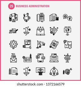Business Administration Line Icons Set For Infographics, Mobile UX\u002FUI Kit And Print Design. Include: Basketball, Net, Basket, Game, Sports, Sound, Music, Volume, Eps 10 - Vector
