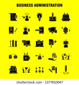 Business Administration Solid Glyph Icons Set For Infographics, Mobile UX/UI Kit And Print Design. Include: Cloud, Router, Network, Internet, Arrow, Focus, Target, Direction, Collection Modern Infogra
