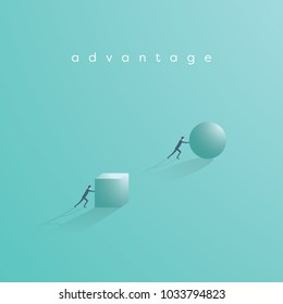 Business advantage and competition vector concept. Businessman pushing ball and cube. Eps10 vector illustration.