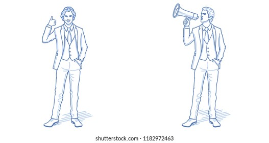 Business advertisement concept. Businessman showing thumbs up and announcing shop sale promotion. Hand drawn cartoon characters. Vector illustration.
