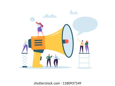 Business Advertising Promotion. Loudspeaker Talking to the Crowd. Big Megaphone and Flat People Characters Advertisement Marketing Concept. Vector illustration