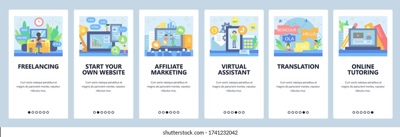 Business, affiliate marketing, virtual assistant, video call, online education. Mobile app screens. Vector banner template for website and mobile development. Web site design illustration.