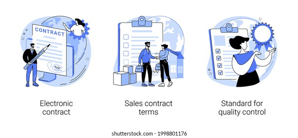Business agreement abstract concept vector illustration set. Electronic contract, sales contract terms, standard for quality control, payment terms and conditions, certification abstract metaphor.