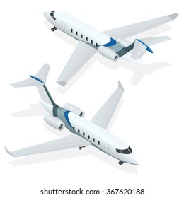 Business aircraft, Corporate jet. Flat 3d isometric vector illustration. For infographics and design games.