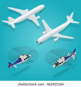 Business aircraft. Corporate or private jet. Airplane passenger plane. Helicopter. Flat 3d vector isometric illustration.