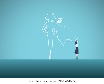 Business ambition and motivation vector concept with businesswoman drawing superhero on wall. Symbol of confidence, career growth, power, strength, feminism and emancipation. Eps10 vector illustration