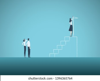 Business ambition and motivation vector concept with businesswoman drawing steps and flag. Symbol of goals, plans, emancipation, success, vision and career progress. Eps10 illustration.