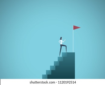 Business ambition and success vector concept. Ambitious and successful business woman climbing to top of steps. Symbol of motivation, challenge, success. Eps10 vector illustration.