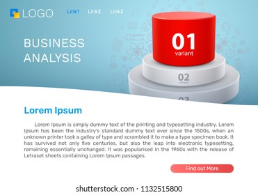Business Analysis Chart, Landing page concept. Vector illustration