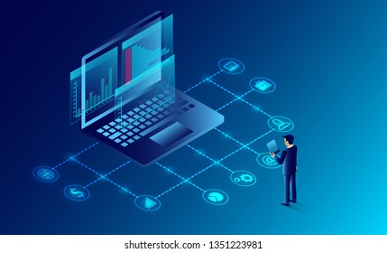 business analysis and communication contemporary marketing and software for development. Infographic for web banner working on investments. illustration cartoon vector