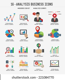 Business Analysis concept icons on white background,Clean vector