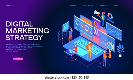 Business analysis, content strategy and management concept. A team of professionals working in the field of digital marketing advertising. Page template. 3d isometric illustration