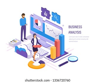 Business analysis. Data analytics of graphs and charts, marketing research, financial business planning, study of performance indicators, social media analysis. Isometric vector.