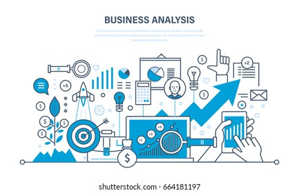 Business analysis, data analytics and research, strategy statistic and planning, marketing, study of performance indicators. Development, investment growth. Illustration thin line design