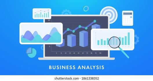 Business Analysis Financial Data Concept Illustration. Datenstatistik und Analyse Business Accounting. Finance Marketing Dashboard Graphics auf dem Laptop-Bildschirm mit Diagrammen, Grafiken, Diagrammen