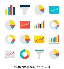 Business Analysis Graph and Chart Objects Set isolated over White. Flat Design Vector Illustration. Collection of Data Statistic Items.