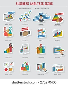 Business analysis icon set sticker design on old background,vector