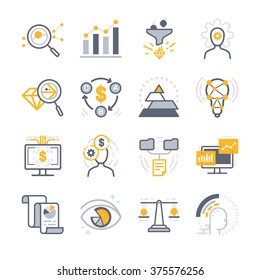 Business Analysis icons. Included the icons as filter, analyze, report, data, qualified, priority and more.