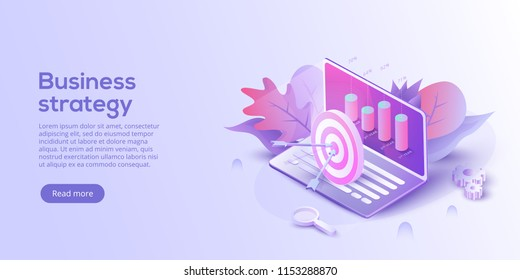 Business analysis isometric vector illustration. Growth strategy or financial goal concept. Growing graph and target on laptop as successful entrepreneurship metaphor.