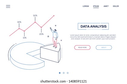 Business analysis- line design style isometric web banner on white background with copy space for text. A header with businessman standing on pie diagram sector, showing infographic chart, results