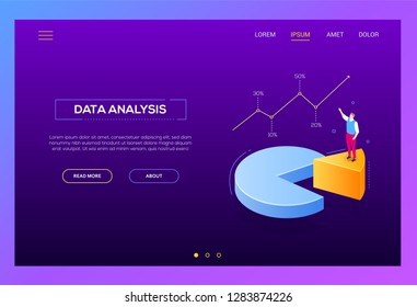 Business analysis - modern isometric vector web banner on purple background with copy space for text. Colorful illustration with businessman on pie diagram sector, showing infographic chart, results