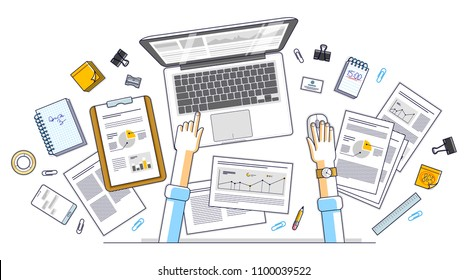 Business analysis, office worker or entrepreneur businessman working on a PC notebook and papers with financial analytics, top view of work desk with stationery and documents and hands. Vector.
