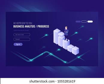 Business analysis and progress concpet, businessman, schedule of data, strategy isometric, chart moves up, vector ultraviolet