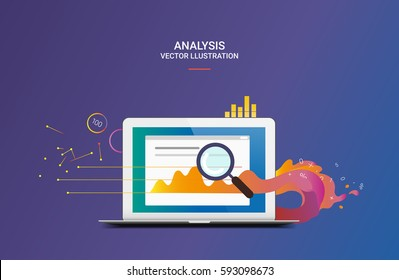 Business analysis or review vector illustration with laptop and abstract infographic elements with magnifier on dark blue gradient background