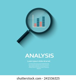 Business Analysis symbol with magnifying glass icon and chart. Eps10 vector illustration.