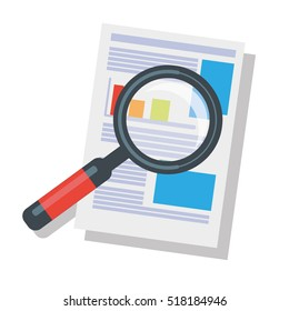 Business Analysis Symbol Magnifying Glass Finance Infographic Isolated On White Background Material Design Vector Illustration Clip Art