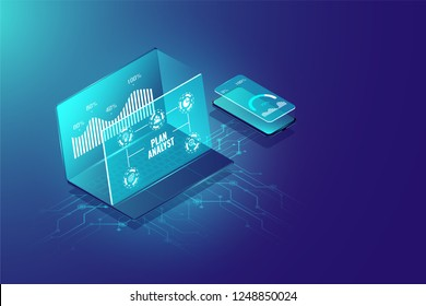 Business analysis system isometric design concept, management marketing, researching information for business. Vector illustration.