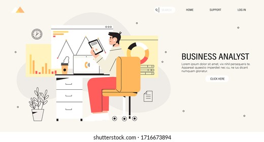 Business analyst analyzes market, organization or domain on laptop and search solutions and strategies during financial and economic crisis to avoid bankruptcy and ways of company business recovery.