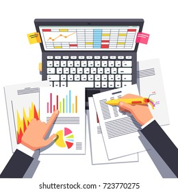 Business analyst or auditor working on statistical data paper documents & using laptop computer with spreadsheets making analytics report. Flat style vector illustration isolated on white background.