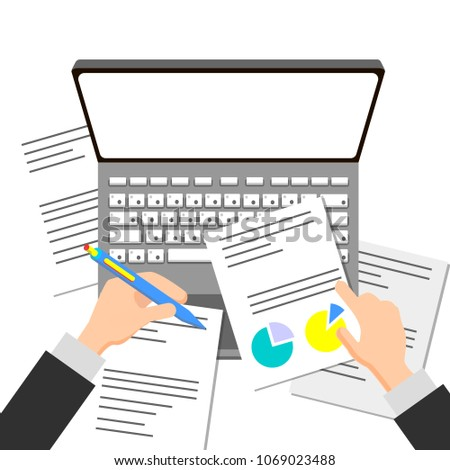 Business Analyst Auditor Working On Statistical Stock Vector - Business analyst documents