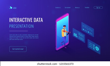 Business analyst coming out of huge smartphone and using gadgets with analysis data. Data insight and interactive data, internet of things concept. Isometric 3D website app landing web page template