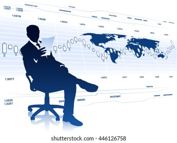 Business analyst with document sitting in office chair