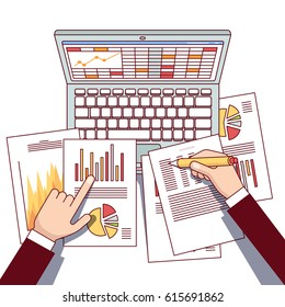 Business analyst hands holding statistical data & using laptop computer making online sales analytics report. Modern flat style thin line top view vector illustration isolated on white background.