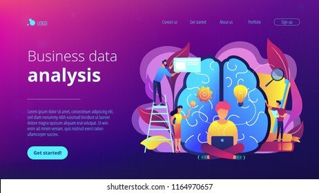 Business analyst working on laptop with business intelligence. Business data analysis, data management, database technologies and analysis tools concept, violet palette. Vector landing page.
