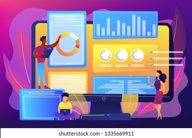 Business analysts performing idea management on computer screen. Innovation management software, brainstorming tools, inovation IT control concept. Bright vibrant violet vector isolated illustration