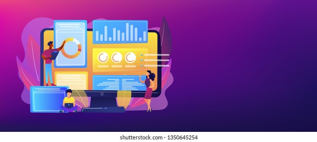 Business analysts performing idea management on computer screen. Innovation management software, brainstorming tools, inovation IT control concept. Header or footer banner template with copy space.