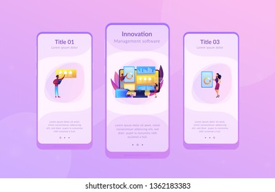 Business analysts performing idea management on computer screen. Innovation management software, brainstorming tools, inovation IT control concept. Mobile UI UX GUI template, app interface wireframe