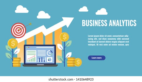 Business analytics concept illustration. Business growth, stack of money, arrows and graph stats. Thick line style banner. Trendy vector placard with text and button
