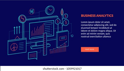 Business Analytics Concept for web page, banner, presentation. Vector illustration