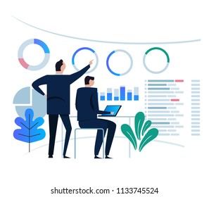 business analytics design concept and business team meeting for working on dashboard monitor. large chart target on large screen. vector flat illustration small business man.