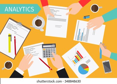 Business analytics and financial audit. Brainstorm and calculations. Vector illustration.