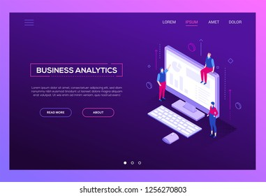Business analytics - modern isometric vector web banner on purple background with copy space for text. A website header with male, female colleagues at the computer with diagrams, charts on the screen