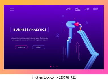 Business analytics - modern isometric vector website header on purple background with copy space for text. An illustration with businessman standing on staircase, trying to fix a piece of diagram